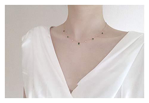 ZUXIANWANG Frauen Halskette Kette Schlüsselbein Renaissance Retro Emerald 925 Silber Vergoldet...