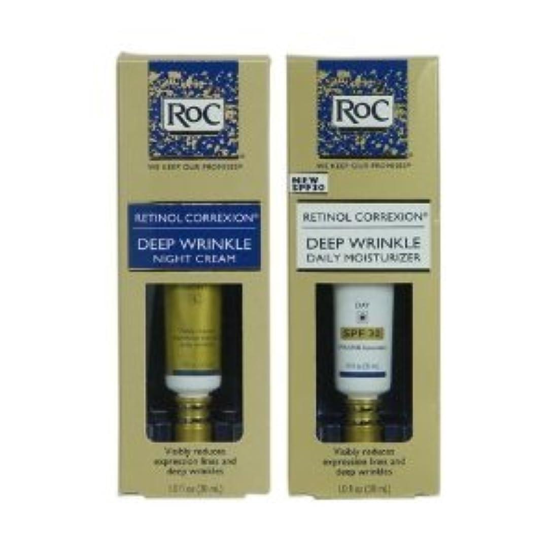 東部樹皮染料RoC レチノール コレクション 2本セット (昼+夜セット) フランス製 RoC Retinol Correxion Deep Wrinkle Day/Night set