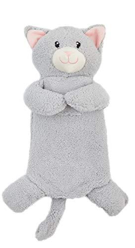 Hot Water Bottle con Unicorn Pug Penguin Monkey peluche Super Soft Cover Premium in gomma naturale 1 litro di acqua calda Borsa - aiuta a fornire calore e comfort (gatto grigio)