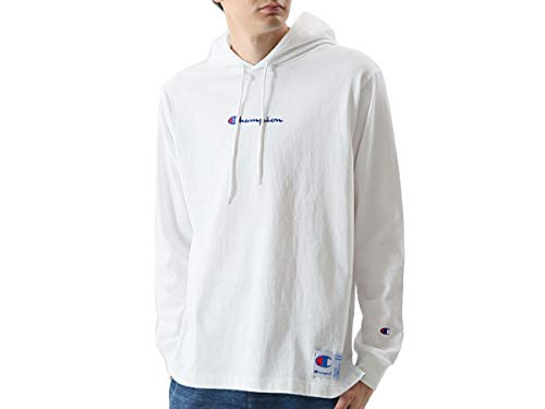 [チャンピオン] パーカー ロングTシャツ 長袖 フーデッドTシャツ バイカラージョックタグ スクリプトロゴ刺繍 C3-M414 メンズ ホワイト L