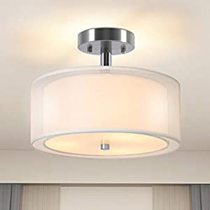 """Ganiude Modern 3-Lights Semi Flush Mount Light Fixture,12"""" Industrial Close to Ceiling Light with Double Fabric Drum Shade,Pendant Kitchen Light for Bedroom,Living Room,Dining Room,Hallway,Entry,Foyer"""