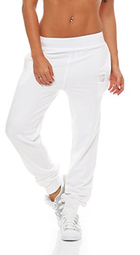 Gennadi Hoppe Damen Jogginghose Trainingshose Sweat Pants Sporthose Fitness Hose,weiß,Medium