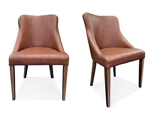 Silla Tolo de piel auténtica marrón con patas de madera de roble a juego 22 – 23 sillas de comedor de piel auténtica de vacuno, silla de comedor de comedor de piel sintética
