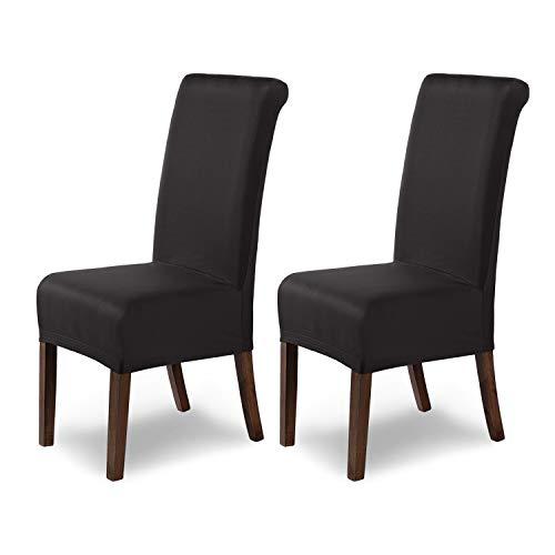 SCHEFFLER-Home Marie 2 Fundas de sillas, Estirable Cubiertas hidrófugo, extraíble Funda con Banda elástica, Negro