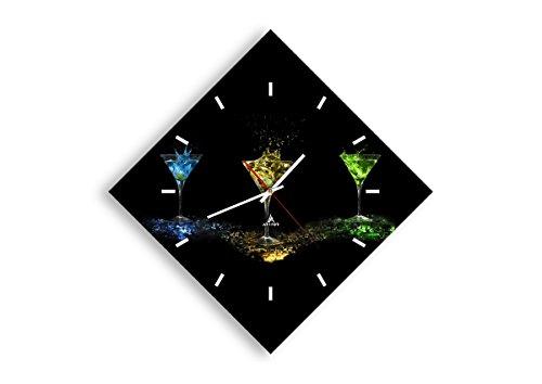 Horloge Murale - Losange - Horloge en Verre - Pendule murales - 57x57cm - 0442 - Mécanisme d'écoulement - Silencieux - prete a Suspendre - Moderne - Décoration - Pret a accrocher - C3AD40x40-0442
