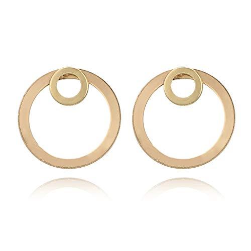 Jiamins Ohrringe - Minimalistische Gold Double Circle Ohrstecker Double Side Ear Jacket Schmuck Modeschmuck Ohrringe Für Damen,2.6 X 2.6 Cm/ 1