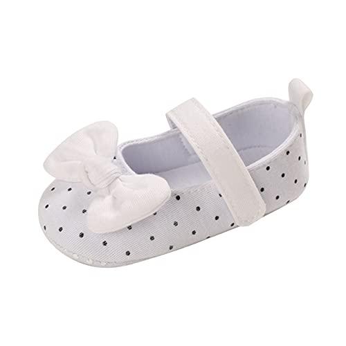 Sapatos infantis infantis para meninos e meninas com laço de bolinhas antiderrapante para primeira caminhada de 0 a 18 meses