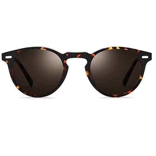 WHSS Gafas de Sol UV400 Placa Marrón Gafas De Sol Polarizadas Gafas Retro Redondas for Hombres Gafas De Sol