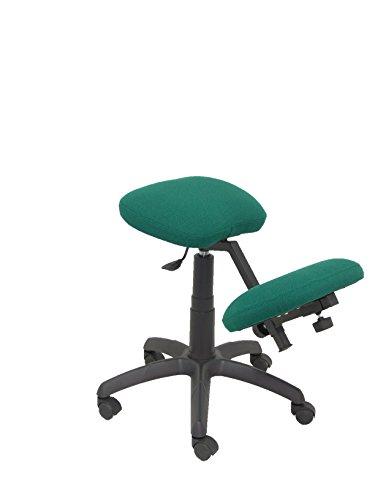 PIQUERAS Y CRESPO Modello 37G - Sgabello da ufficio ergonomico, girevole e regolabile in altezza - Rivestita in tessuto BALI di colore verde (GINOCCHIERA REGOLABILE)