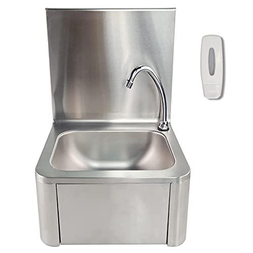 T-CAT Edelstahl Handwaschbecken Waschtisch Gastrobecken Waschbecken mit Kniebetätigung und Seifenspender Spülbecken Wasserhahn für Gastronomie, Küche (400 * 320 * 570 mm)