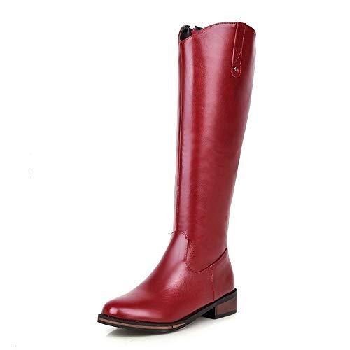 Comfortabel en veelzijdig temperament Dij laarzen for vrouwen Rijlaars 3.5cm Block Heel 35.5cm Schachthoogte ronde neus Zijrits PU Non-slip Leer Solid Color hjm nvxie jfidmra