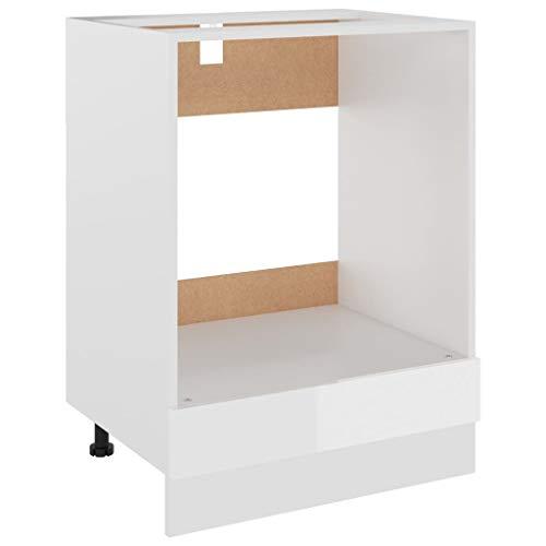 vidaXL Herdumbauschrank Küchenschrank Ofenschrank Backofenschrank Herdschrank Küchenzeile Küchenmöbel Backofen Hochglanz-Weiß 60x46x81,5cm Spanplatte