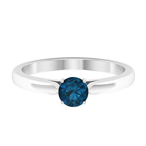 Rosec Jewels - 18 Karat Weißgold Rund Blue Blautopas - London