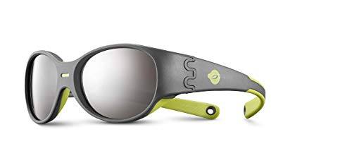 Julbo Domino - Junior Sunglasses with UV Protection and Secure Fit for Active Children Outdoors - Gray Dark/Green - Spectron 4