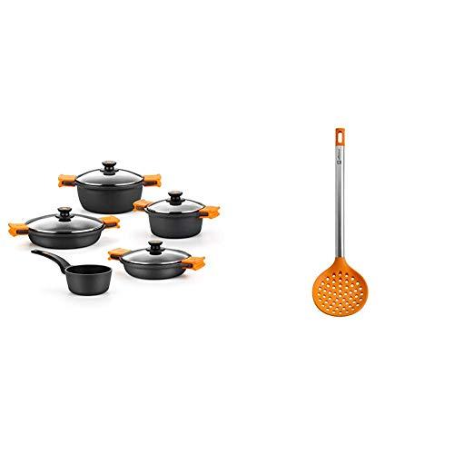 BRA Efficient - Batería 5 piezas, de aluminio fundido con antiadherente + Efficient Espumadera de Cocina, Acero INOX, Nailon y Silicona, Naranja, 36.5 cm