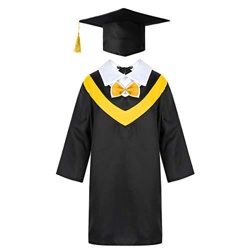 TiaoBug Toga Birrete de Graduación Niños Infántil Primaria Estudiantes Disfraz Doctor Graduación con Gorro Sombrero Amarillo 7-8 años