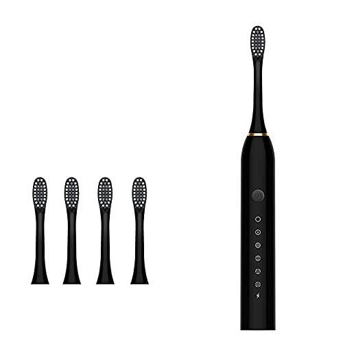 Lankfun Cepillos de Dientes electricos,System wasserdichtes Aufladen weiches Haar-Schwarz,Escova dentes electrica