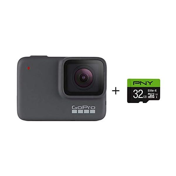 GoPro HERO7 Silver + PNY Elite-X 32GB microSDHC Card Adapter-UHS-I, U3 – Waterproof...