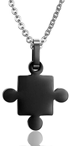 Abellale - Collar de Acero Inoxidable para Hombre, Cadena con Colgante de Amor y concienciación del Autismo, Enlaces Negros