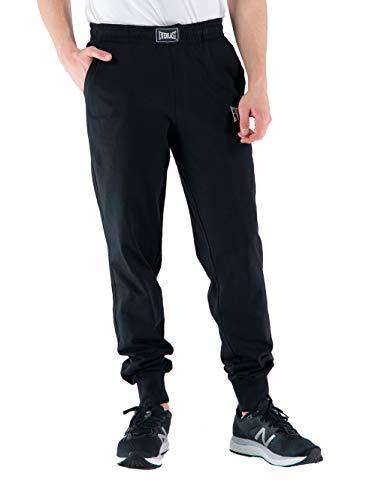 Everlast Pantalone Tuta Uomo Sportivo Pantaloni Cotone Jogging Non Felpato Nero (L)