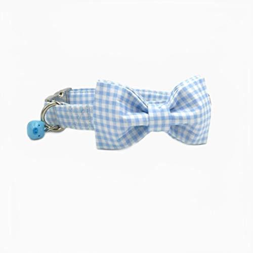 Collar para Perro a Cuadros Azul con Campana de Cerdo Azul y Lazo Collar para Perro y Gato de algodón Collares para Perro y Correa para Perro Collar para Mascotas con Pajarita, XS