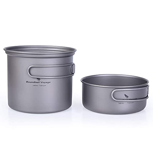 WYJRF Ollas y sartén de Titanio ultraligeras 500/550/650 ML Juego de Utensilios de Cocina para Acampar con Mango Plegable Juego de vajilla para Exteriores (Juego de Utensilios de Cocina para Acampar)