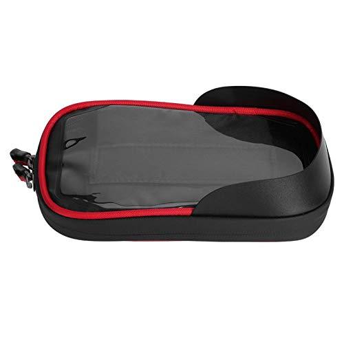 Estink Bolsa para Cuadro de Bicicleta, 11x18cm / 4.3x7.1in Soporte para teléfono Impermeable con Ajuste de 360 ° con Bolsa para Pantalla táctil para teléfono(C Bracket-Black Red)