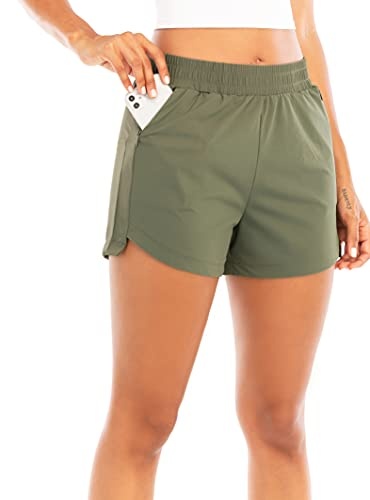 """RUNNING GIRL Women's 3"""" Running Quick-Dry Athletic Shorts with Zipper Pockets Elastic Waist Gym Outdoor Beach Hiking Workout Volleyball(DK2730_1Olive Green_L"""