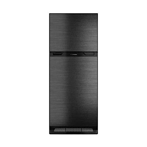 Furrion 10 cu. ft. Furrion Arctic 12 Volt Left Hinge Built-In Refrigerator (Black) for RV, Camper or Trailer with Independent Freezer - Black VCM Stainless Steel Door Panel - FCR10DCDTA-BL-BS