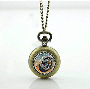 Reloj de bolsillo astronómico Steampunk, colgante de reloj de bolsillo de latón, colgante de cristal, colgante de reloj de Praga, collar de latón