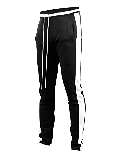 SCREENSHOTBRAND-S41700 Mens Hip Hop Premium Slim Fit Track Pants - Athletic Jogger Bottom with Side Taping-Black-Large