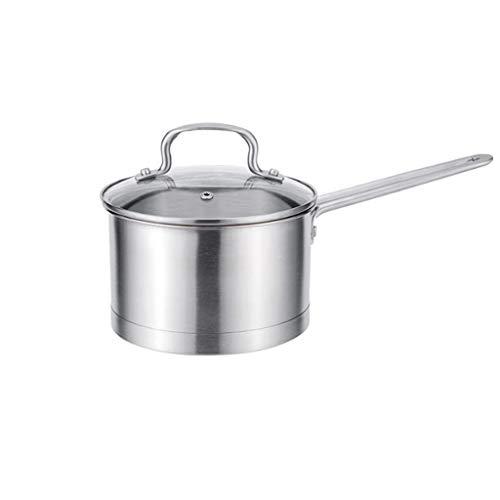 Stainless Steel Soup Pots with Glass Lid Milk Pan Pot Cookware Baby Food Supplement Pot Saucepan Non-Stick Kitchen (Size : 18cm)