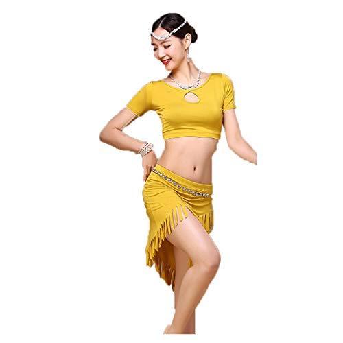 TFF Bauchtanz-Trainingskleidung Sommer-Trainingskleidung Modal Dress (Color : Mustard Yellow, Size : L)