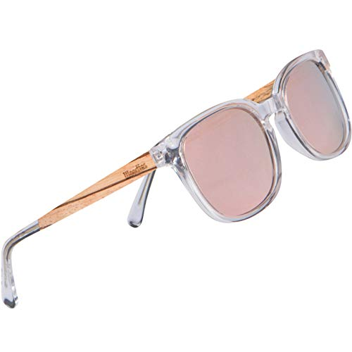 WOODIES Polarized Clear Acetate Wood Sunglasses in Wood Display Box for Men and Women | Pink Polarized Lenses and Real Wooden Frame | 100% UVA/UVB Ray Protection