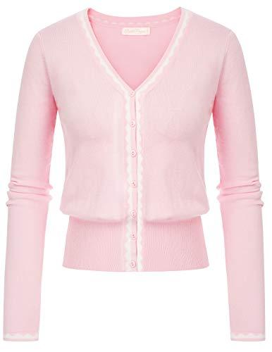 Belle Poque GF779 - Chaqueta de punto para mujer, manga larga, cuello redondo, con botones