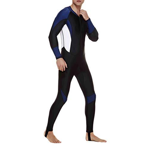 Battnot Herren Badeanzug Lang Jumpsuit Große Größen Schwimmanzug Schnorchelanzug Badehosen Schutzkleidung, Männer Stretch Ganzkörper Neoprenanzug Surf Overall UV-Anzug Mens Diving Steamer Swimwear