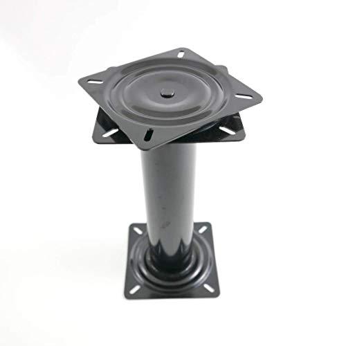 Pedestal de asiento alto de 35,5 cm con asiento giratorio de 360°, acero negro