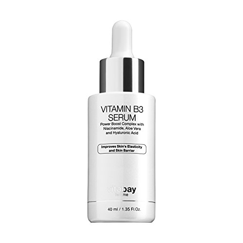 Vitabay Vitamin B3 Serum 40ml • Anti-Aging Creme mit 5% Niacinamid, Aloe Vera & Hyaluron • Gegen Akne, Falten & Altersflecken