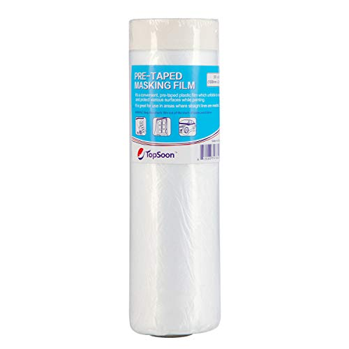 "TopSoon Pre-Taped Masking Film Painters Plastic Sheeting Wall Surface Protection Film 59"" x 65.6' (1 Roll)"