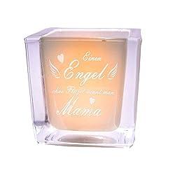van Hoogen  Leonardo Teelicht Engel ohne Flügel nennt Man Mama Windlicht mit Gravur   Geschenk Muttertag + Mutter + Mama + Mutti - WÜRFEL