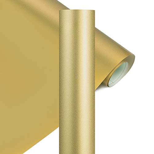 YRYM HT Premium Plotterfolie Textil-30.5cmx152.4cm Flexfolie für Aufbügeln von T-Shirts & Anderen Stoffen Stoffe(Gold)