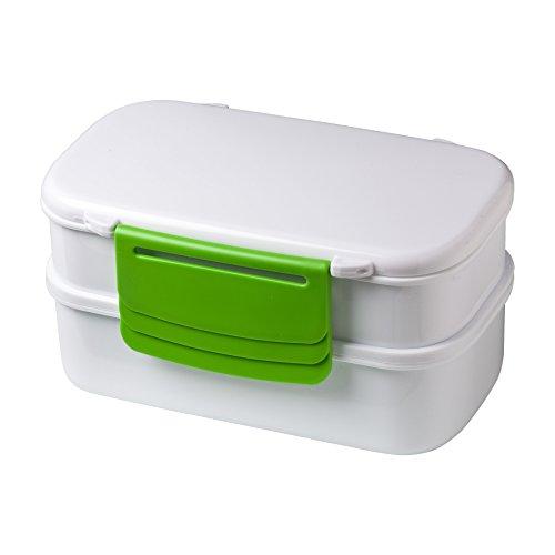 elasto Lunchbox to Go Mitaka Salatbox Doppeldecker Bentobox mit Besteck und Kühlakku 2 Etagen Vorratsdose Food Container in Fresh Weiß-Grün