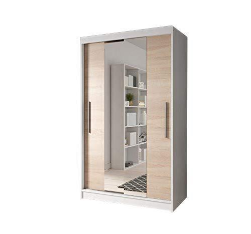 mb-moebel Moderner und funktionaler SchiebetürenSchrank Kleiderschrank Schrank Garderobe Zweitürenschrank Spiegeltür 120 cm NOAH 01 (Weiß + Sonoma)