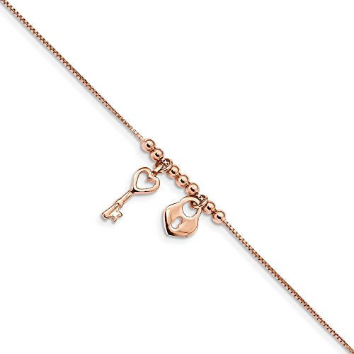 925 Sterling Silver Rose Tone Heart Lock 1 Inch Adjustable Chain Plus Size Extender Anklet Ankle Beach Bracelet Fine Jewellery For Women Gifts For Her