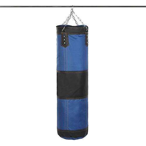 Belleashy Boxsack 60/100/120 cm Leder Boxtraining Boxsack hängende leere schwere Sandsack Boxen Zielscheibe mit Kette Home Gym Trainingsgerät (Größe: XL; Farbe: Blau)