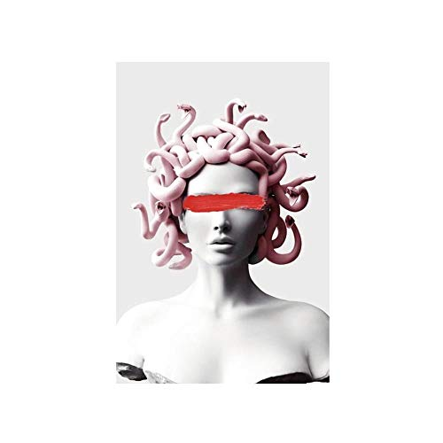 YGYT Canvas Prints Greek Mythology Poster Medusa Sculpture Picture Artwork Painting Home Decor Modular Nordic Style for Living Room No Frame 24x32in