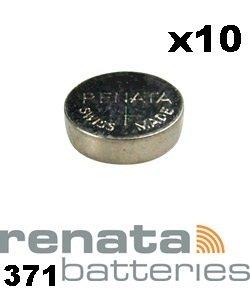 Renata 371 SR920SW Lot de 10 piles bouton pour montre Fabriquées en Suisse 1,...