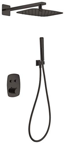 Conjunto ducha termostática empotrada Imex Hidra Negro GPH035-NG
