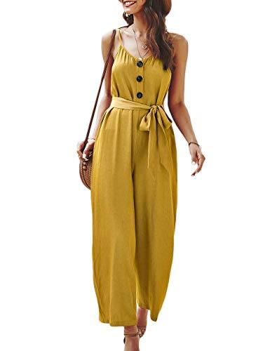 HAHAEMMA - Top para mujer, S-XL, primavera, verano, suave, cómoda, elegante, 2020, moda, mujer, tiempo libre, holgada, mono largo amarillo L