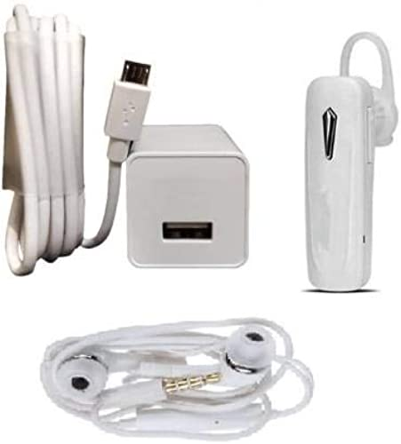 Mobile Geeks Wall Charger Accessory Combo for Oppo f1s f3 f3 Plus f5 f5 Youth f7 a83 a37f a37 a71 a57 F1S F1 Plus FIND 7 9 F3 A59S R9S and All Smart Phone White